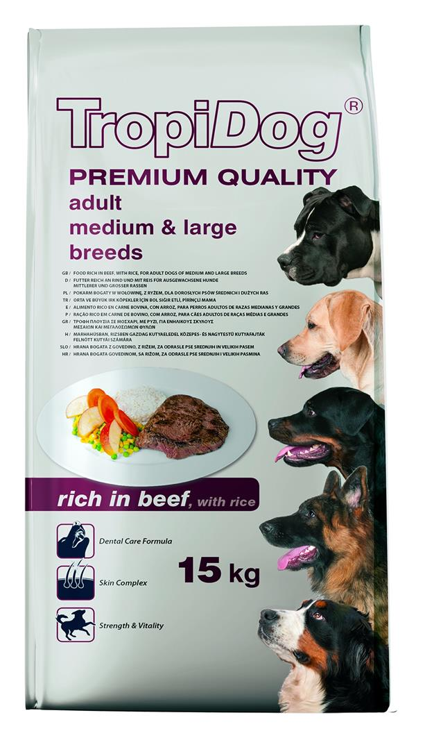TROPIDOG PREMIUM ADULT MEDIUM & LARGE BREEDS - RICH IN BEEF, WITH RICE