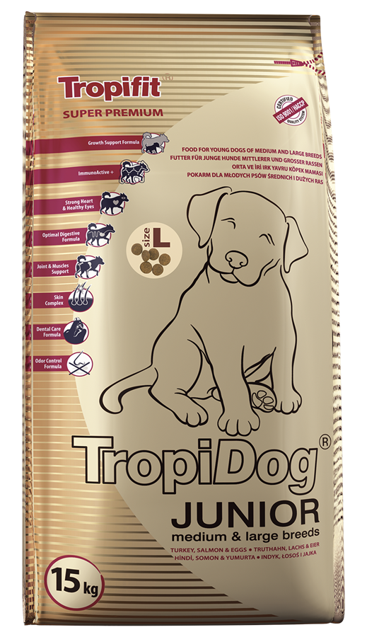 TROPIDOG SUPER PREMIUM JUNIOR MEDIUM & LARGE BREEDS – TURKEY, SALMON & EGGS