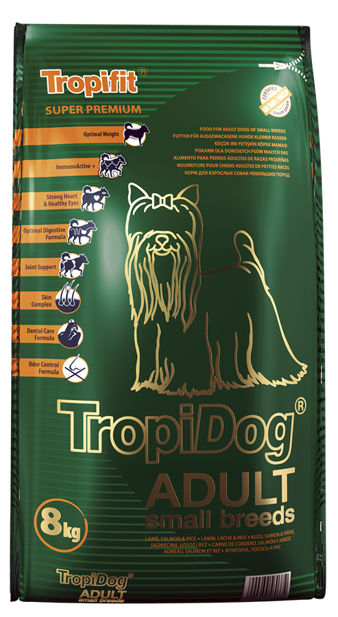 TROPIDOG SUPER PREMIUM ADULT SMALL BREEDS – LAMB, SALMON & RICE