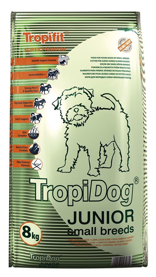 TROPIDOG SUPER PREMIUM JUNIOR SMALL BREEDS – LAMB, SALMON & EGGS