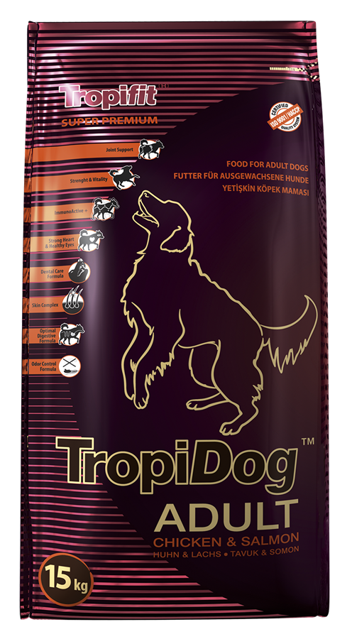 TROPIDOG SUPER PREMIUM ADULT MEDIUM & LARGE BREEDS – CHICKEN & SALMON