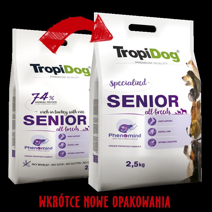 TropiDog Senior All Breeds – rich in TURKEY, with RICE