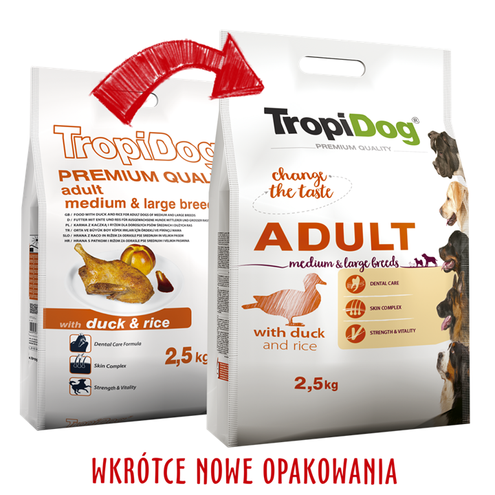 TROPIDOG PREMIUM ADULT MEDIUM & LARGE BREEDS ‒ WITH DUCK & RICE