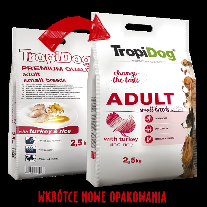 TROPIDOG PREMIUM ADULT SMALL BREEDS - WITH TURKEY & RICE