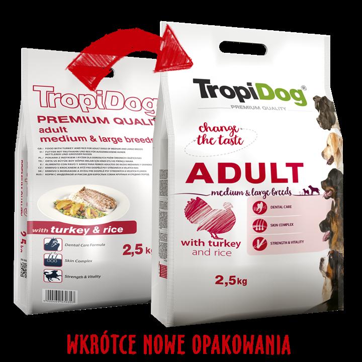 TROPIDOG PREMIUM ADULT MEDIUM & LARGE BREEDS - WITH TURKEY & RICE