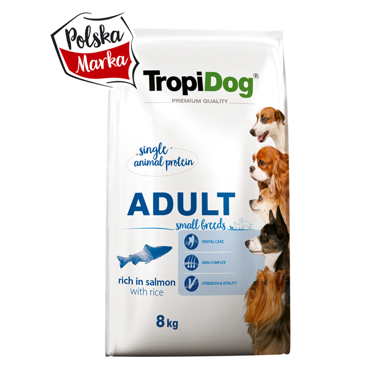 TROPIDOG PREMIUM ADULT SMALL BREEDS – RICH IN SALMON, WITH RICE