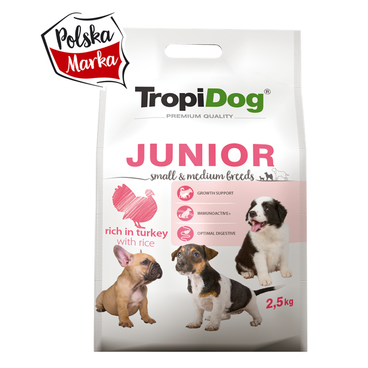 TROPIDOG PREMIUM JUNIOR SMALL & MEDIUM BREEDS - RICH IN TURKEY, WITH RICE