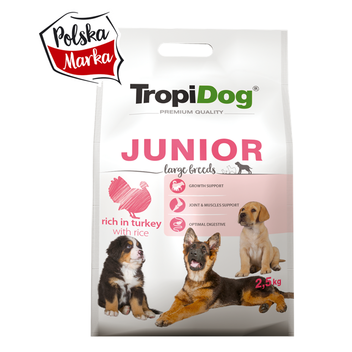 TROPIDOG PREMIUM JUNIOR LARGE BREEDS ‒ RICH IN TURKEY, WITH RICE