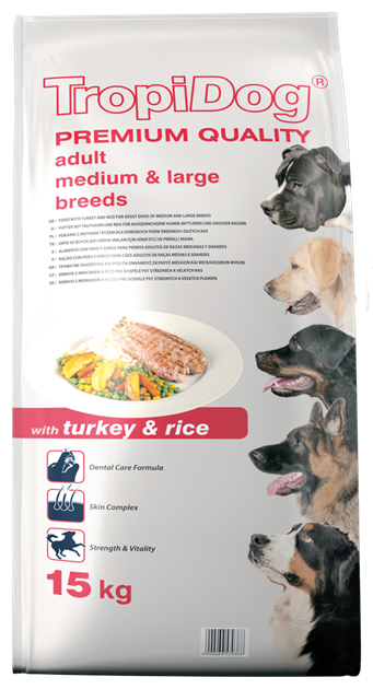 TROPIDOG PREMIUM ADULT MEDIUM & LARGE BREEDS - WITH TURKEY & RICE