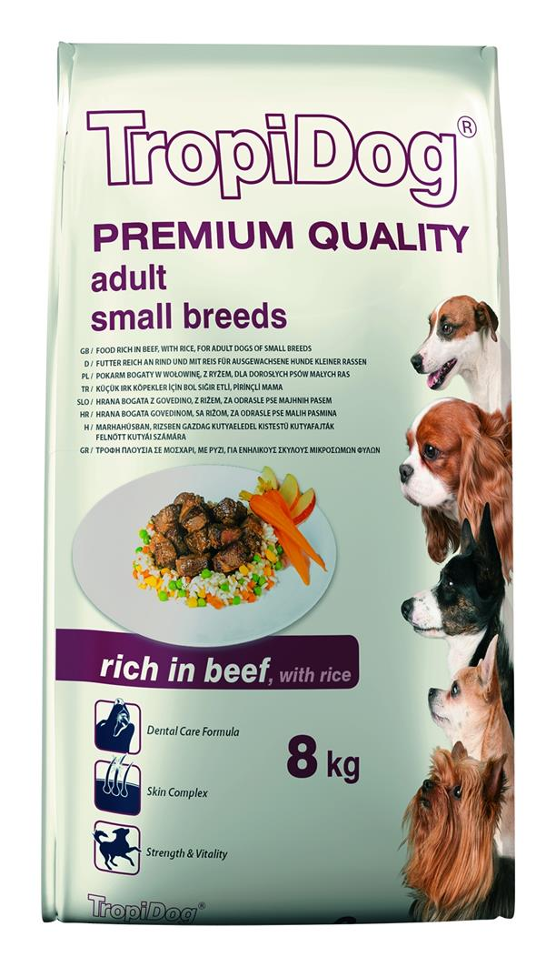 TROPIDOG PREMIUM ADULT SMALL BREEDS - RICH IN BEEF, WITH RICE