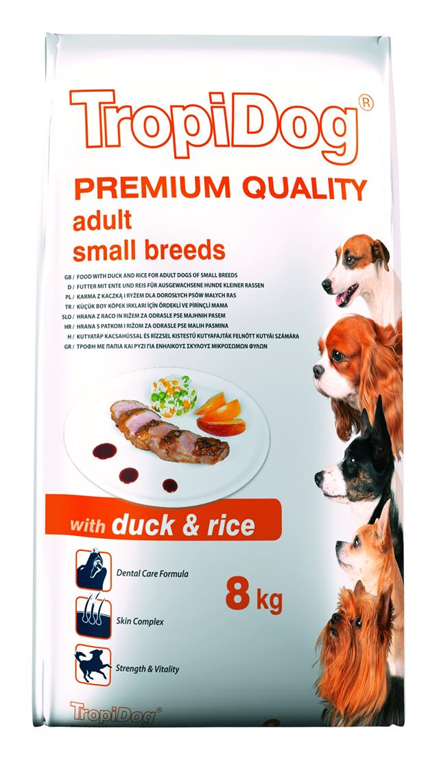 TROPIDOG PREMIUM ADULT SMALL BREEDS – WITH DUCK & RICE